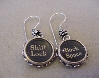 Typewriter Key Earrings SHIFT LOCK BACK Space typewriter keys Vintage Typewriter key Jewelry steampunk jewelry upcycle earrings