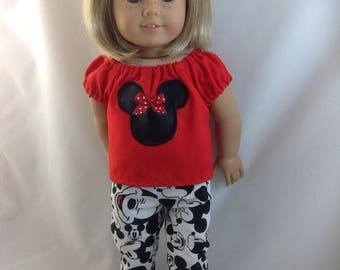 American Girl Doll  Mickey Mouse Slacks, Skinny Pants  Minnie Mouse Blouse Red High Top Shoes Disneyland Disney World  w/  Ears summer wear