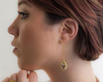 Vintage Two Rose Flower Earrings, Vintage Earrings, Flower Earrings, Floral Jewelry