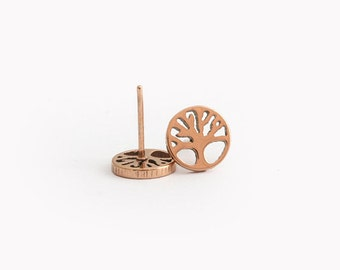 Rose Gold Round Tree Stainless Steel Earring Post Finding (E34153C)