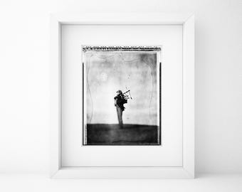 Bagpipe Player, Musician, Fine Art Photography, Black And White, Home, Office, Limited Edition, Collectible, Polaroid, Type 55, Large Print