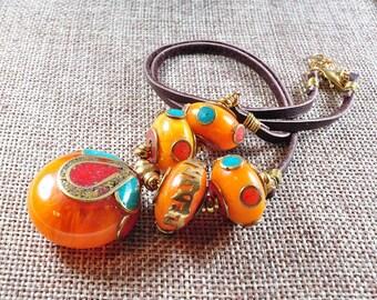 Bead necklace | boho leather necklace | Nepalese necklace