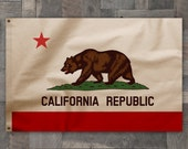 100% Cotton, Vintage Style, California Republic State Bear Flag, Made in USA