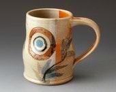 Handmade Coffee Cup, Ceramic Mug with Sprigs and Circle Motif, Tea cup, Drinkware, Mugs