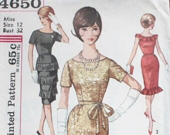 "1960s dress pattern / Simplicity 4650 / ruffle neck  or fringed wiggle dress / bust 32"" waist 25"""