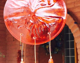 Tree of Life Windchime Orange Glass