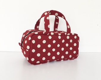 Boston Pouch / Bag in Bag /  Large Cosmetic Pouch - Canvas Natural Large Dots in Red