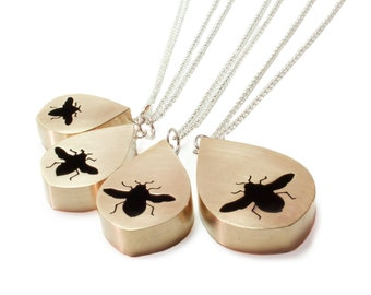 Medium Bee Shadowbox Pendant Necklace in Brass with Sterling Silver Chain - other silhouettes also available