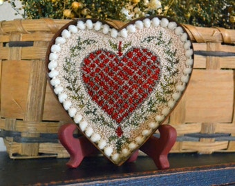 "A paper (mailed) ""1800's Heart Butter Mold"" Punch Needle Pattern #170121"