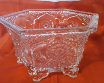 Fenton Glass Hexagon Shaped Bowl/ Planter With Six Legs