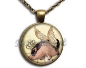 ON SALE - Royal Crown Flying Pig Glass Dome Pendant or with Chain Link Necklace AN173