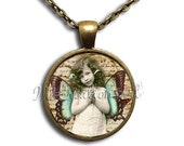 20% OFF - Angel Girl Vintage Style - Round Glass Dome Pendant or with Necklace by IMCreations - VT102
