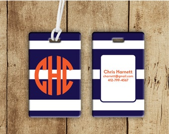Monogram striped luggage tag, personalized bag tags, prepp backpack tag, preppy gifts