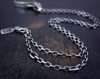 Mini anchor chain made to order sterling silver 2.6mm soldered jump rings and lobster claw clasp antique rustic finish with extender links