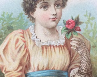 Victorian Trade Card Girl with Roses Litho Champion Furniture Co Williamsport Pa Vintage Advertising