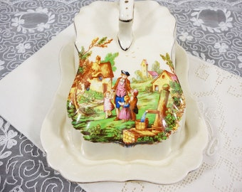 Vintage Lancasters Ltd. Butter/Cheese Dish - Father with Children in Village - Hanley England - English Ware