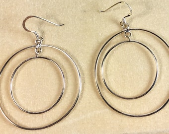 Sterling Silver Circle in a Circle Vintage Earrings Pierced - Boho Style Vintage Hoop Earrings