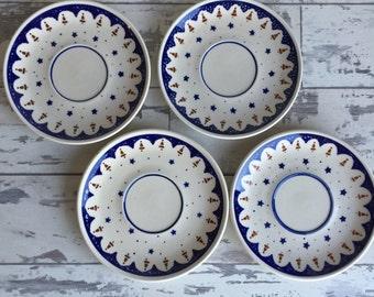 Vintage Boleslawiec Polish Pottery Saucers - Made in  Poland - Cobalt Blue Hand-Painted