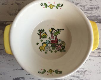 Vintage Metlox Happy Time Bowl - Tab Handle Basket Weave Vegetable Bowl Poppytrail Provincial