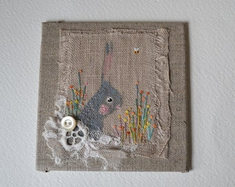 ARTWORK textile ORIGINAL : Hand painted Bunny with hand embroidered flowers