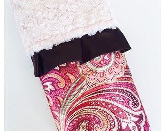 NEW BABY BLANKET /  paisley charmeusse print with pink minky swirls and satin ruffles.........Modern baby gift