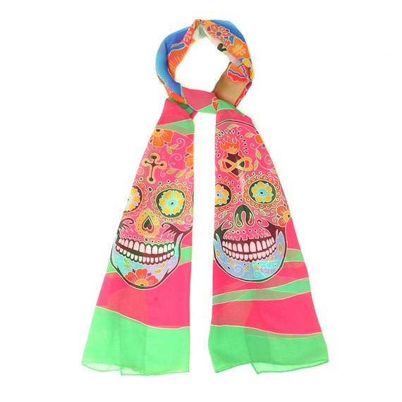 Silk scarf handpainted, Skull scarf, Catrina skull, Colorful scarf, Chiffon scarf, Day of the dead scarf, hand made, Hand painted scarf