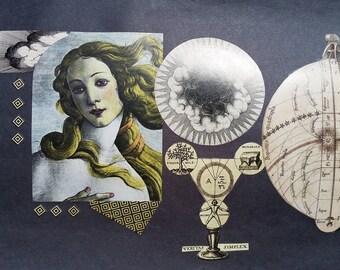 Original Collage on Paper, Medieval Alchemy Series, Original Art Work