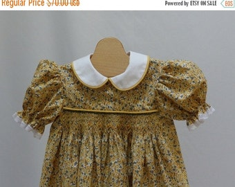 Holiday Sale Yellow Floral Flowers  Hand Smocked Dress 3 years  Ready to Ship