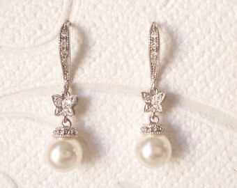 Butterfly Bridal Earrings in .925 Sterling Silver Flower Girl Gift with Swarovski Pearl for Victorian Wedding Jewelry Romantic Bride