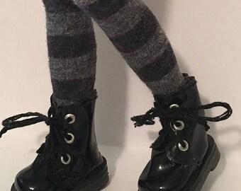 Tall Black And Gray Striped Socks For Blythe...