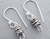 Twisted Wire Earrings, Sterling Silver Wire Earrings, Mini Twisty Earrings, Boho Earrings, Twisted Wire Wrap, Everyday Earrings,  #3963
