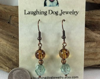 Teal and Gold Glass and Antiqued Copper Earrings