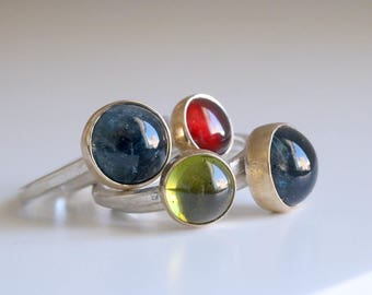 RESERVED . CUSTOM RING . Sterling silver rings with 18kt gold and gemstones. Garnet ring, Aquamarine ring, Peridot ring. Stacking rings.
