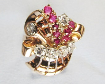 Retro Diamond and Ruby Pink Gold Ring // Classic 1940s Vintage Cocktail Ring with Natural Rubies and Diamonds // Over One Carat in Diamonds