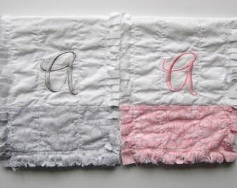 Monogrammed Burp Cloths, Baby Gift Set, Pink Gray White, Baby Girl Burpies
