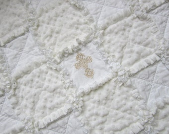 Baptism Baby Quilt   Christening Gift   White Rag Quilt   Minky Baby Blanket  Gender Neutral Baby