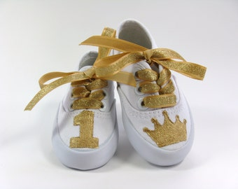 Girl's Birthday Shoes with Gold Crown or Tiara and Age or Number on the Toes, Hand Painted White Sneakers for Babies or Toddlers