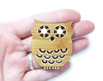 Owl Brooch, Owl Pin, Wooden Brooch, Woodland Brooch, Owl Jewellery, Gift for Her, Gift for Owl Lovers, Mothers Day Gift, Laser Cut Jewellery