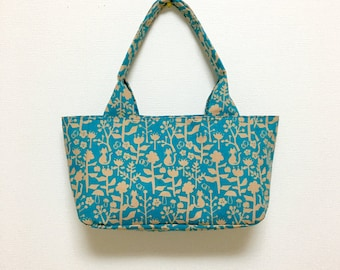 Fabric Shoulder Bag / Tote Bag --- European Cat - Turquoise Blue