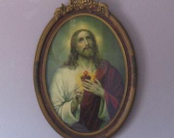 Jesus with Sacred Heart print . 1920 Jesus . Jesus in wood frame . Victorian Jesus print