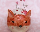 Ceramic Fox Pincushion Pot
