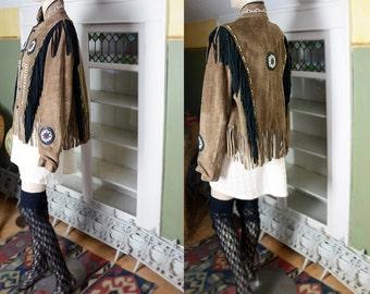 80's 60's 70's vibe boho leather suede fringe coat, Native American coat, beaded, mandala, slouchy, boho jacket, hippie, embroidered coat