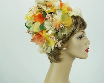 Vintage 1960s Hat Multi Colored Silk Floral Cone by Michele