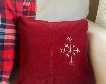 Snowflake embroidered crimson red corduroy decorative throw pillow