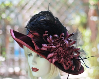 Vintage Style Wide Brim Edwardian Hats, Hats with Flower, Hat with Feathers, Downton Abbey Hat, Elegant Special Occasion Hat