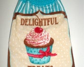 Spring Sale Crochet Top Cupcake Towel,  Delightful Treats Towel, Hanging Towel,  Plush Thick LongTowel, Turquoise Blue, Cupcake Dish Towel,
