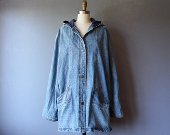 vintage hooded denim coat / blue denim bomber jacket / denim field jacket / 2X