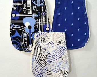 Set of Three Burp Cloths - Music Notes Instruments Burpies Baby Boy