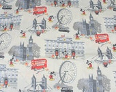 4489 - Cath Kidston Mickey in London (Light Beige) Cotton Fabric - 53 Inch (Width) x 1/2 Yard (Length)