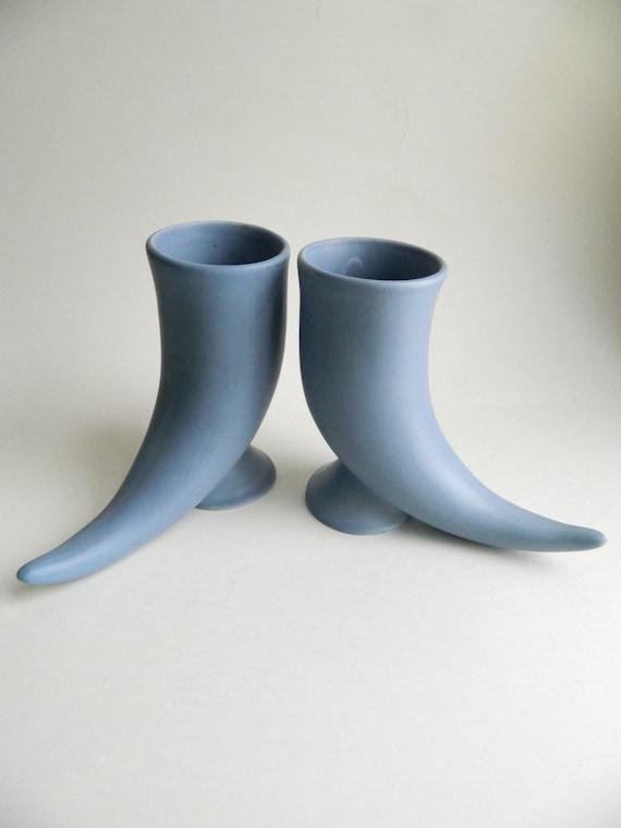Pair of Blue Ceramic Horn Steins